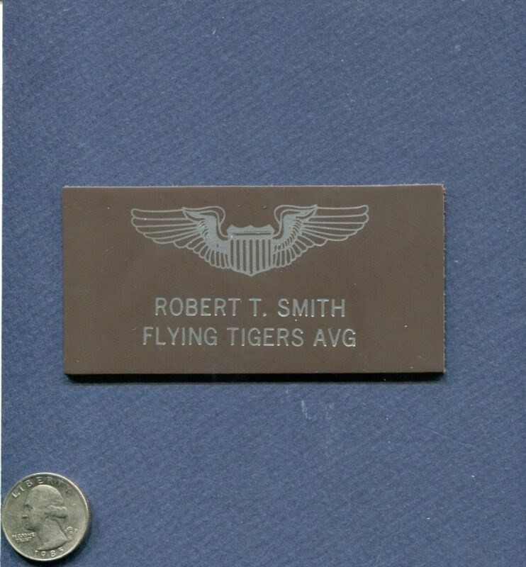 R T Robert T Smith FLYING TIGERS AVG AAC USAF Squadron Pilot Name Tag Patch