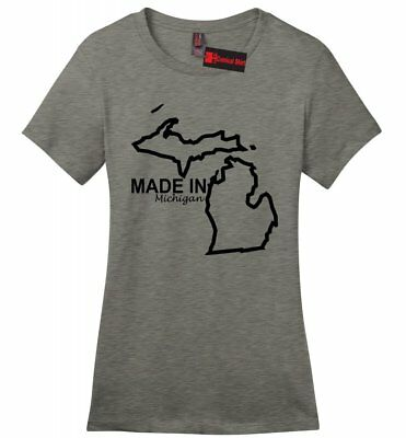 Made In Michigan Ladies Soft T Shirt Cute State Pride My Home Tee Born Gift -