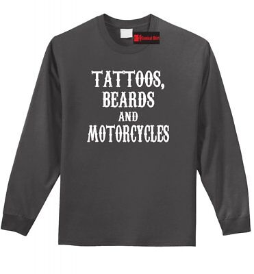 Tattoos Beards & Motorcycles Long Sleeve T Shirt Husband Dad Gift Tee Z1 1 Dad Long Sleeve T-shirt