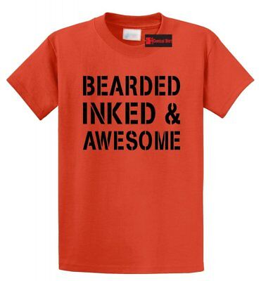 Bearded Inked and Awesome Funny T Shirt Tattoo Lover Valentine's Day Gift Shirt - Valentine Tattoo