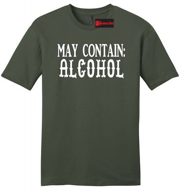 May Contain Alcohol Mens Sft T Shirt Funny Party Drink St Pattys Bar Beer Tee
