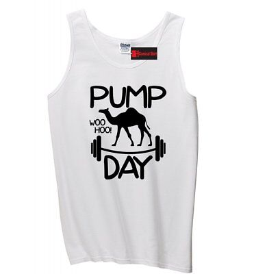 Pump Day WooHoo Funny Mens Tank Top Workout Gym Camel Graphic Sleeveless Tee Z3 (Funny Tanks Men)