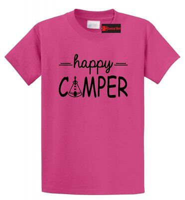 Happy Camper T Shirt Cute Camping Hiking Girlfriend Boyfriend Gift Summer Tee