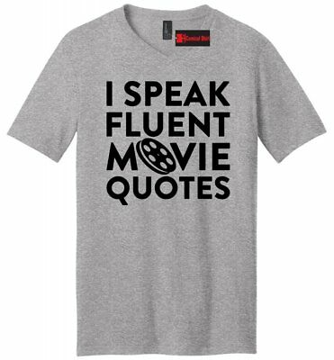 - I Speak Movie Quotes Funny Mens V-Neck T Shirt Movie Lover TV Show Nerd Gift Tee