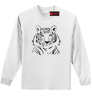 Tiger Face Graphic Tee Animal Lover Tiger Drawing Long Sleeve T Shirt Z1 (Animal Faces)