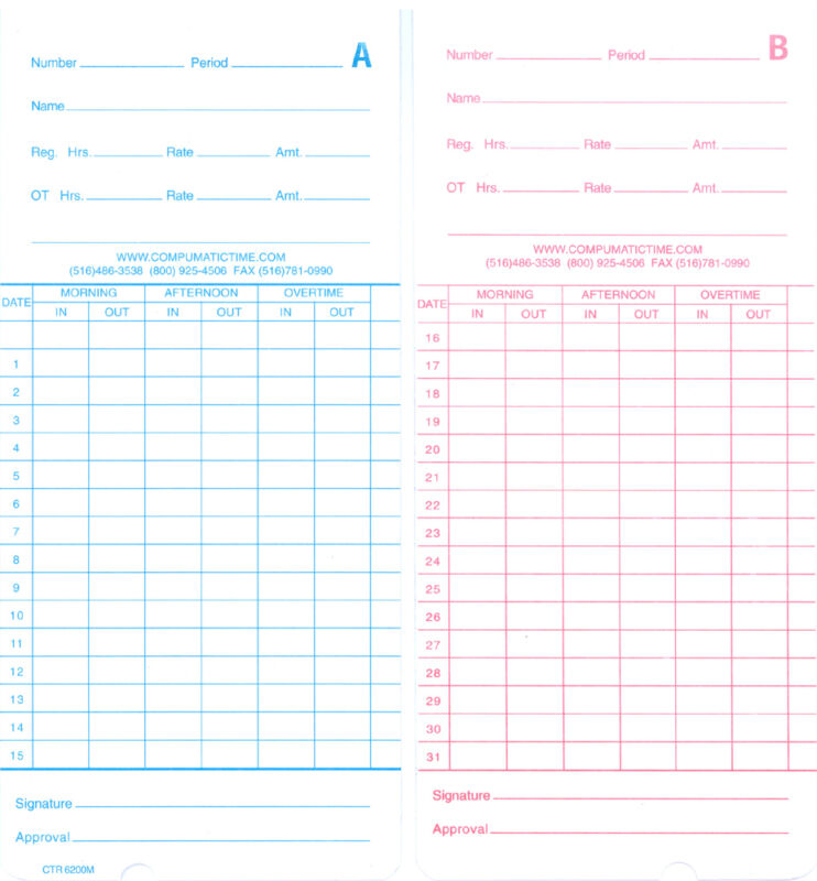 250 Monthly Time Cards for Pyramid 2500, 2600, 2650, 6200, 6400 (42415 Comp)