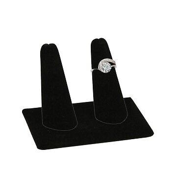 2 Fingers Display Black Velvet Jewelry Ring Display Showcase Display Stand
