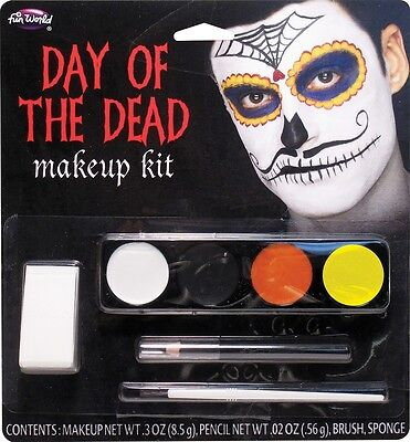 Day of the Dead Mustache Catrin Makeup Kit, Halloween Accessory, Fun World