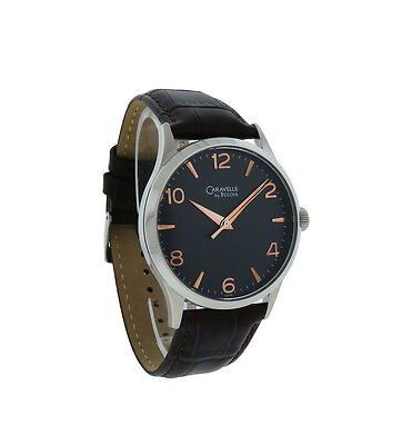 Caravelle by Bulova 43A105 Men's Round Black Analog Rose Gold Tone Leather - Mens Gold Round Leather Watch