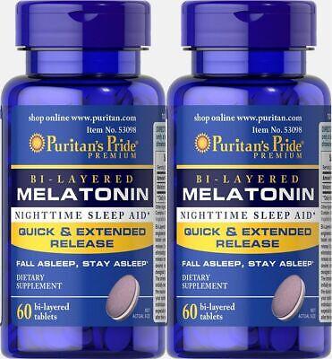 BI-LAYERED MELATONIN 5 MG BETTER SLEEP AID SLEEPING PILLS SUPPLEMENT 120