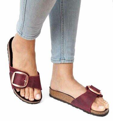 - Birkenstock Sandals MADRID BIG BUCKLE zinfandel wine waxy leather narrow red NEW