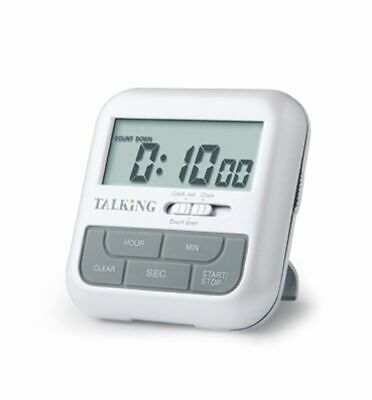 Ultmost EL-9892 Talking Kitchen Countdown Timer and Clock, English, White