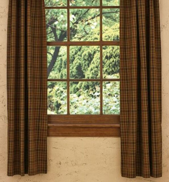 Green Curtains black green curtains : Country Mustard Rust Black Green Plaid Primitive Spice Lined ...