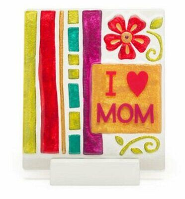 Silvestri I Love Mom Flower Design Square Glass Plaque with Stand Lori - Love Design Stand