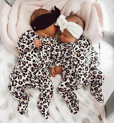 Newborn Baby Girl Boy Leopard print Clothes Romper Bodysuit Jumpsuit Outfits UK