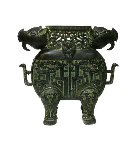 Chinese Ancient Design Green Bronze-ware Ram Ox Ding Display cs1044