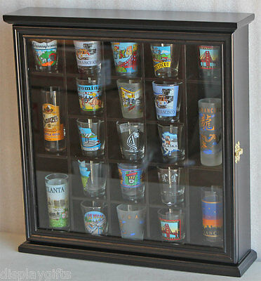 21 Shot Glass Display Case Stand Wall Curio Cabinet Shadow Box- BLACK, SC01-BLA