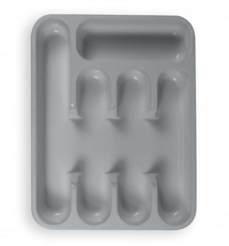 Grey 5 Compartment Plastic Cutlery Tray Drawer Organiser
