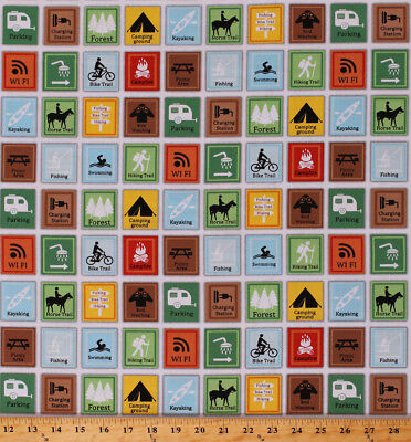 Camping Campground Signs Hiking Happy Camper Cotton Fabric Print Bty D375 41