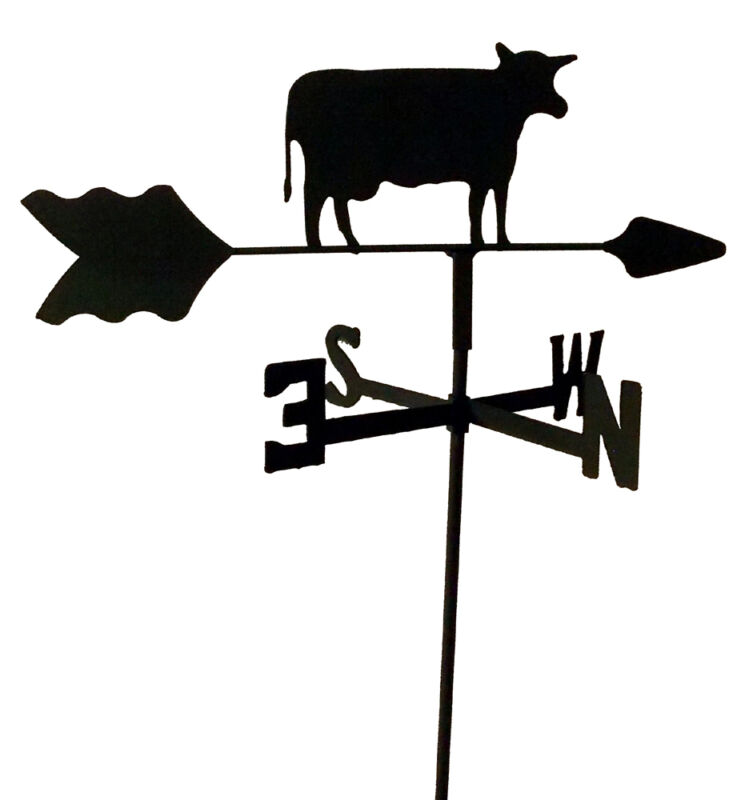 COW  GARDEN STYLE WEATHERVANE BLACK WROUGHT IRON LOOK MADE IN USA TLS1010IN