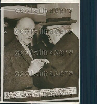 1951 France President Vincent Auriol With Robert Schuman  Press Photo