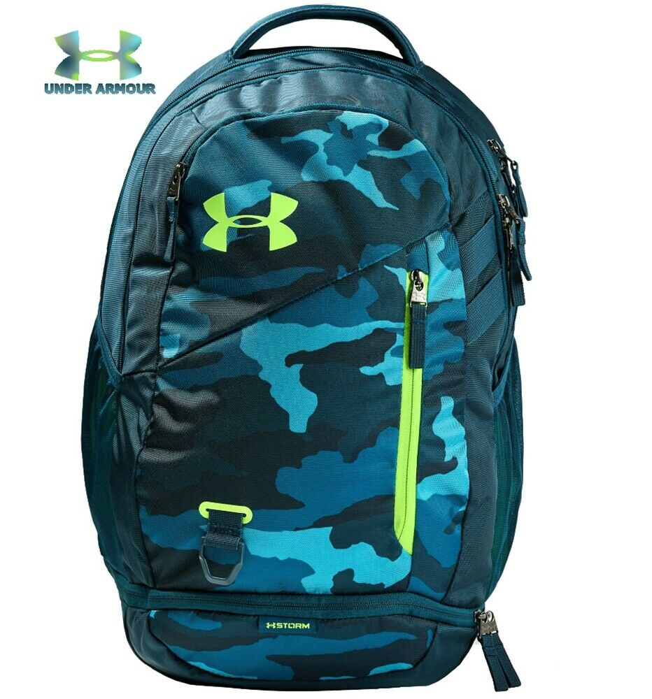 Under Armour UA Hustle 4.0 Backpack Teal Vibe Blue Camo Scho