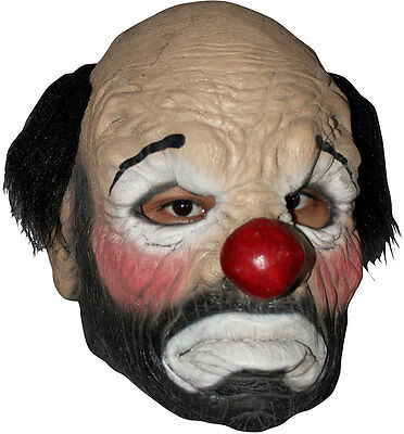 MENS LADIES SAD CLOWN MASK RED NOSE LATEX OVERHEAD CREEPY HALLOWEEN CIRCUS NEW - Latex Clown Nose