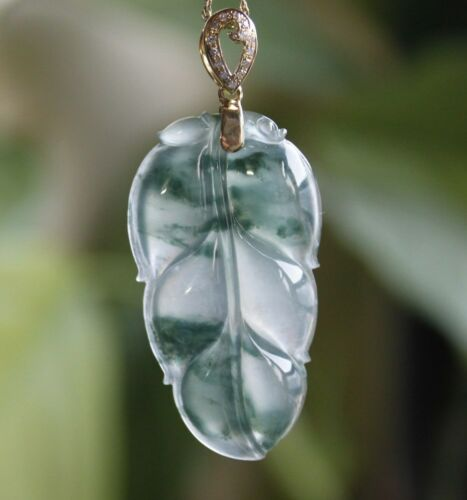 Certified Natural Grade A Icy Green Jadeite Jade Leaf Diamonds 18K Gold Pendant