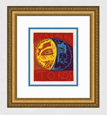 """Vivid Pablo PICASSO SIGNED Antique Exhibition Poster """"The Bullfight"""" Framed COA"""