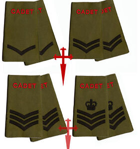 ALL-RANKS-Pair-of-ACF-CCF-RANK-SLIDES-for-MTP-Army-Cadet-Force-Olive-Green