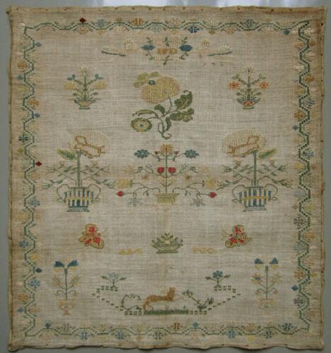 1812 ANTIQUE DUTCH SILK ON LINEN CROSS STITCH NEEDLEWORK SAMPLER ANGELS FLOWERS