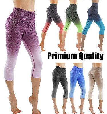 Workout Womens Capris - Womens Premium Active Gym Workout Wear Two Tone Ombre Capri Yoga Pants Leggings