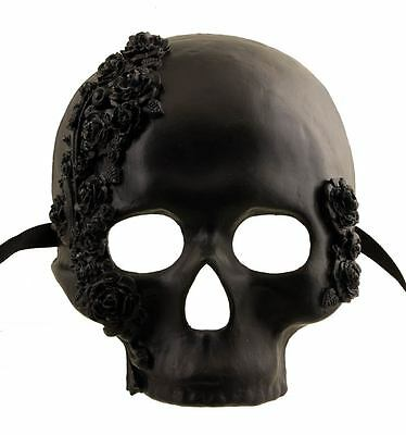 Mask from Venice Tête de Death and all Roses-Black- in Paper Mache -2117-v47