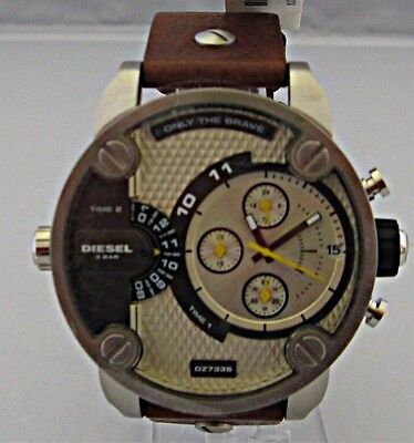 Diesel - Men's Little Daddy Chronograph Dual Time Brown Leather Watch - DZ7335