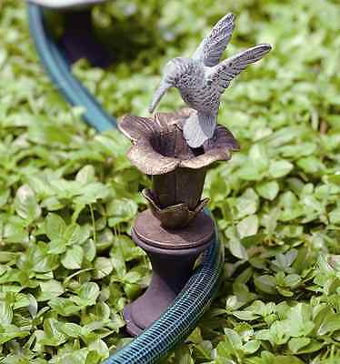 Hummingbird & Flower Hose Guard Guide Verdi Green Bird Garden Stake