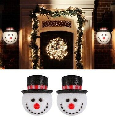 2PCS SNOWMAN HEAD PORCH LIGHT LAMP POST COVER CHRISTMAS WINTER HOLIDAY DECOR USA