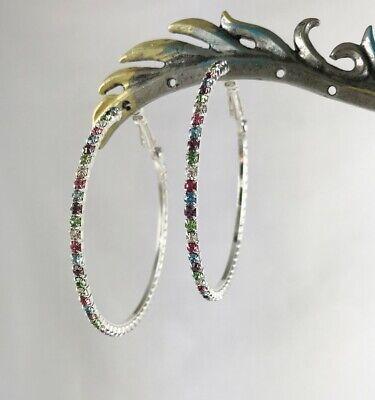 Large Boho Multi-Color Austrian Crystal Silver Hoop Earrings 2 1/8