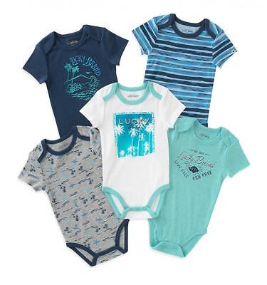 Lucky Brand Infant Boys 5 Pack Blue & White Bodysuits Size 0/3M 3/6M -