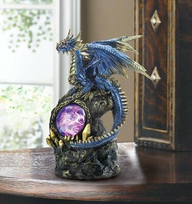 Medieval Medallion (medieval BLUE winged Dragon medallion trophy throne Statue LED night light)