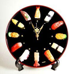Sushi Wall Clock JAPAN Japanese Sushi motif 12 Pcs 3 Pins KANJI Real New F/S