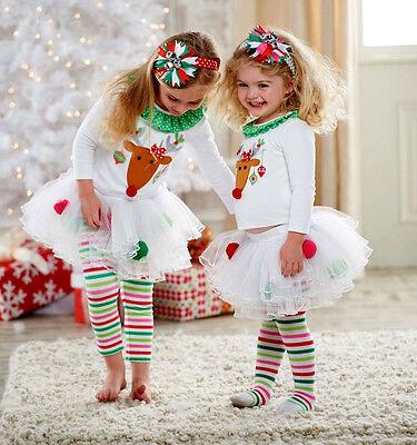USA Christmas Kids Baby Girls Xmas Tops Tutu Leggings Pants Outfits Set Clothes