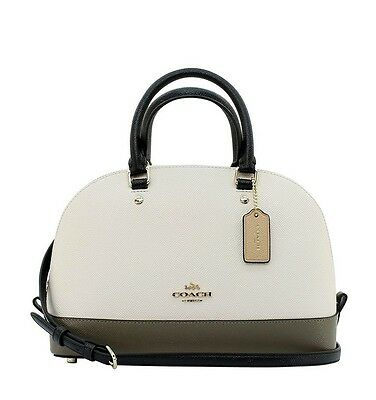 COACH Mini Sierra Crossbody Satchel Crossgrain Leather Colorblock Chalk