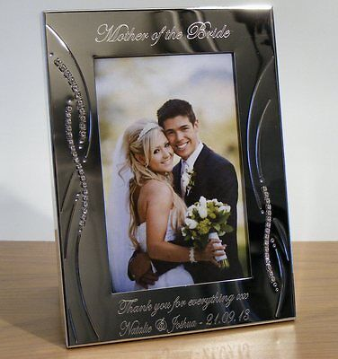 Personalised Crystal Photo Frame Mother and Father of Bride / Groom Wedding Gift