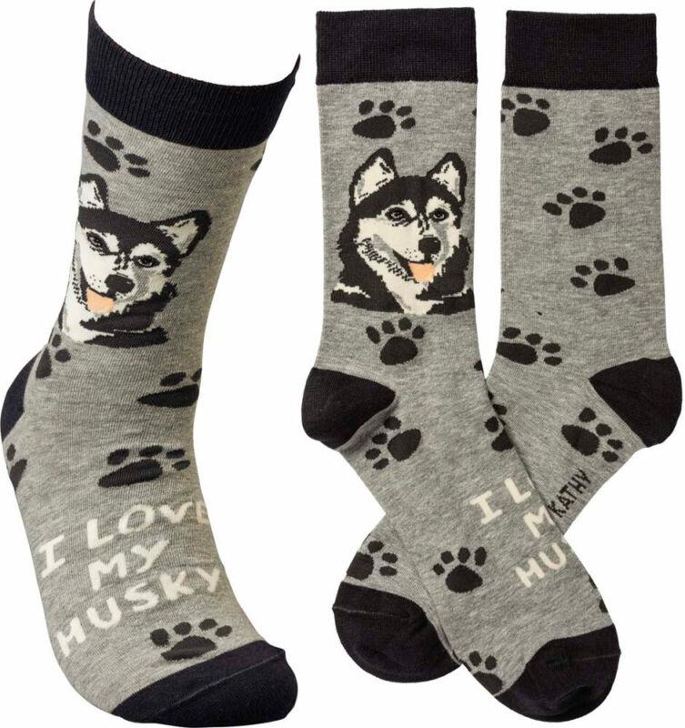 Husky I Love My Dog Socks