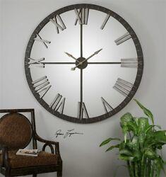 HUGE 60 Urban Modern Mirror Wall Clock Round Distressed Bronze Finish 06419
