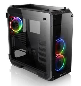 NEW Thermaltake Gaming Full Tower Computer Case Vertical GPU Modular E-ATX 4-Sided Tempered Glass with 3 RGB Led Riin...