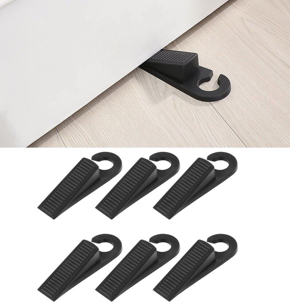 6x All Floor Type Heavy Duty Large Wide Door Stopper Wedge Safe Non-Toxic Rubber