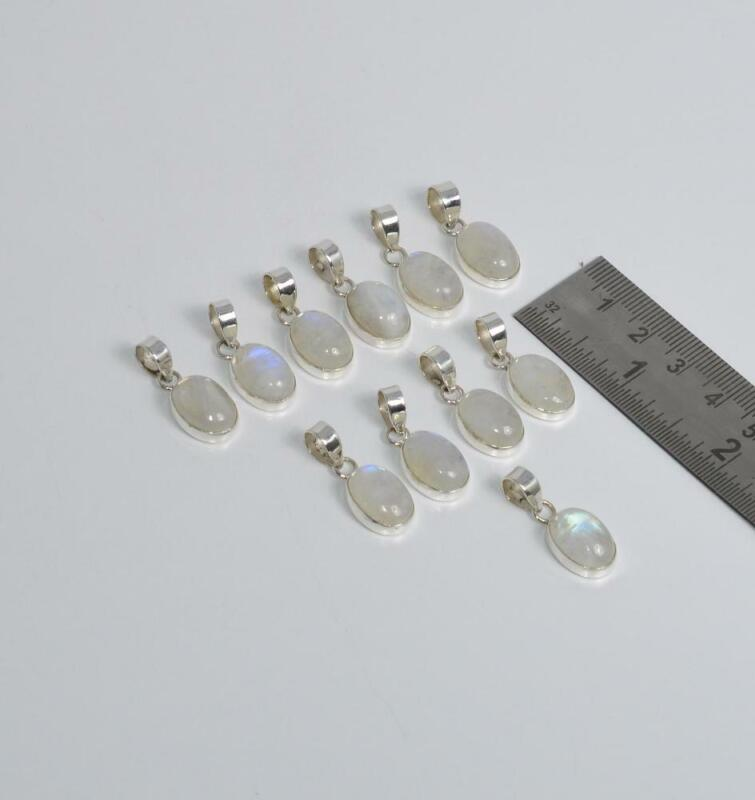 WHOLESALE 11PC 925 SOLID STERLING SILVER WHITE RAINBOW MOONSTONE PENDANT LOT V70