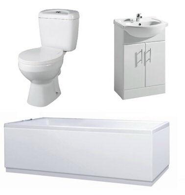 Bathroom Suite 1700mm Bath 550mm Vanity Unit Close Coupled Toilet Pan