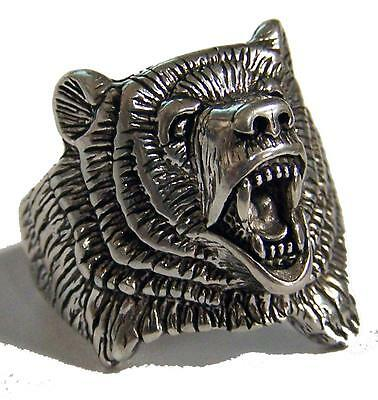 WILD ROARING BEAR NEW SILVER BIKER RING BR94R mens jewelry womens BEARS HEAD NEW